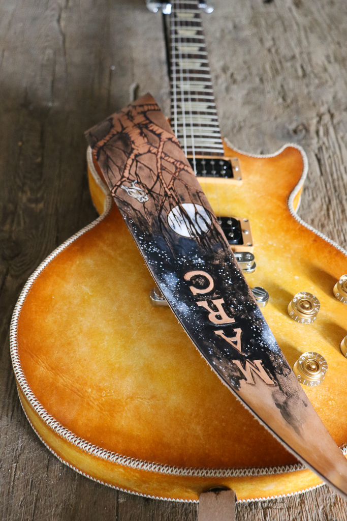 full moon and tree guitar strap by Linny Kenney