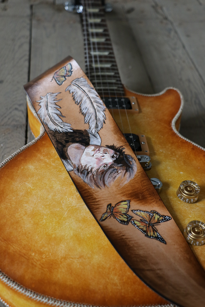 portrait custom guitar strap by Linny Kenney
