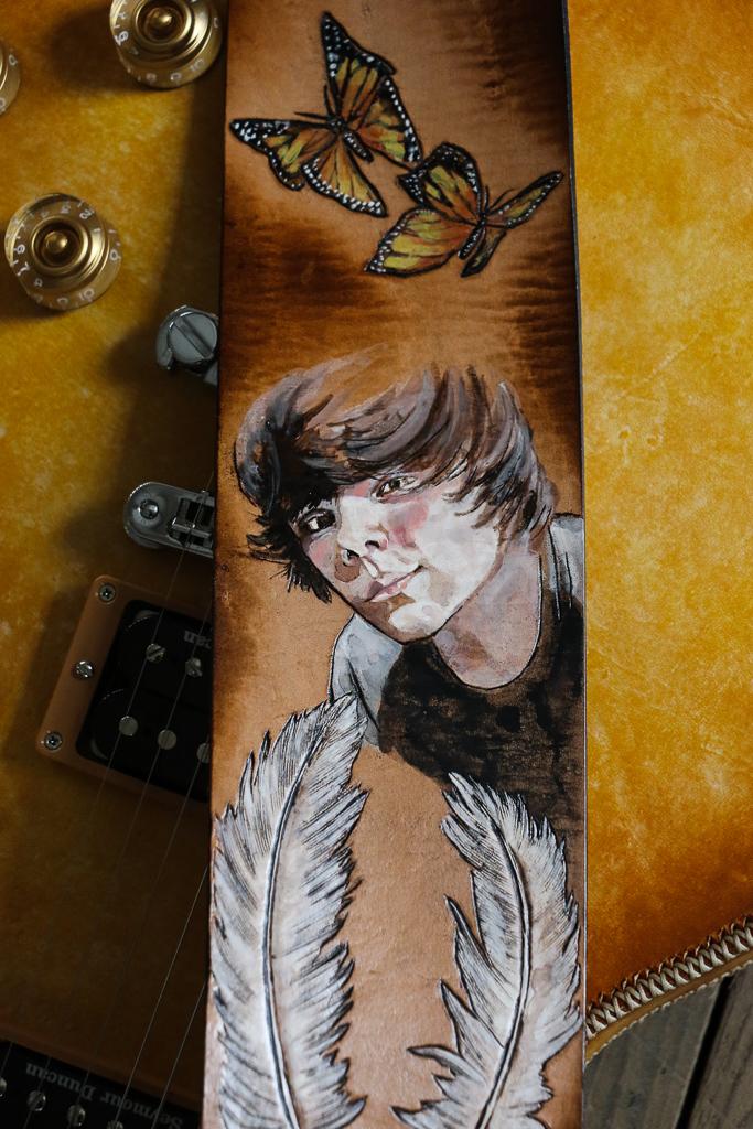 portrait custom guitar strap by Linny Kenney