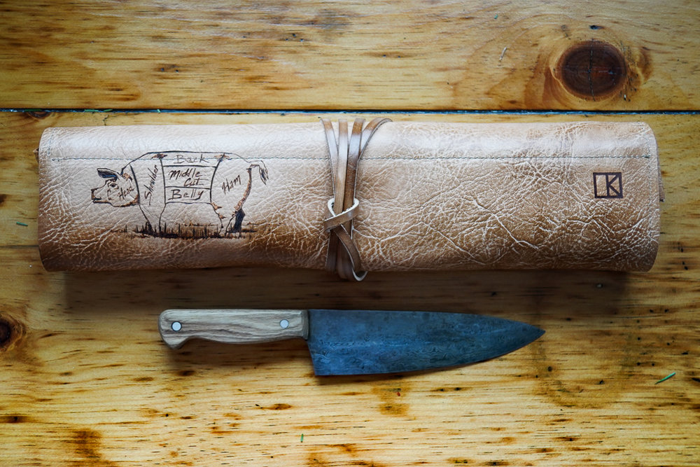 cow and pig knife roll