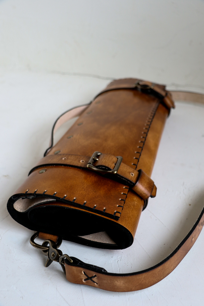 custom leather knife roll with initials