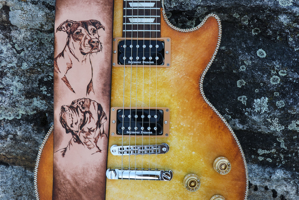 Dog Portrait Guitar Strap by Linny Kenney