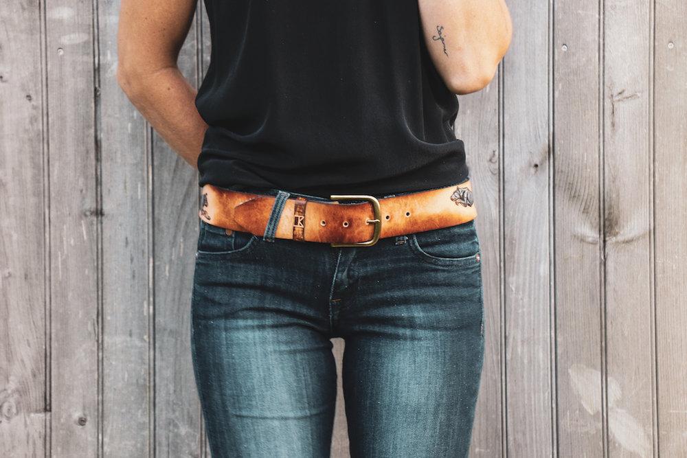 custom leather belt by Linny Kenney