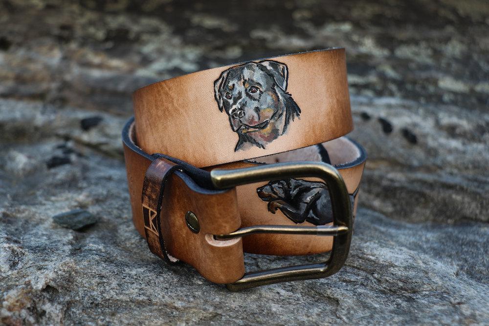 Custom dog belt by Linny Kenney