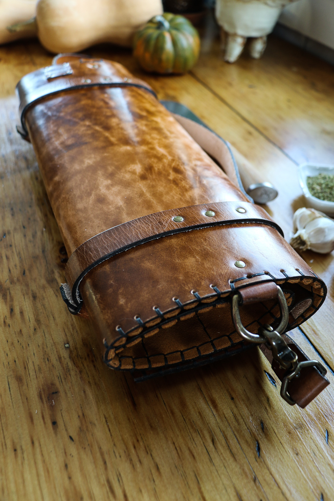 Bearded Skull Leather Knife Roll by Linny Kenney