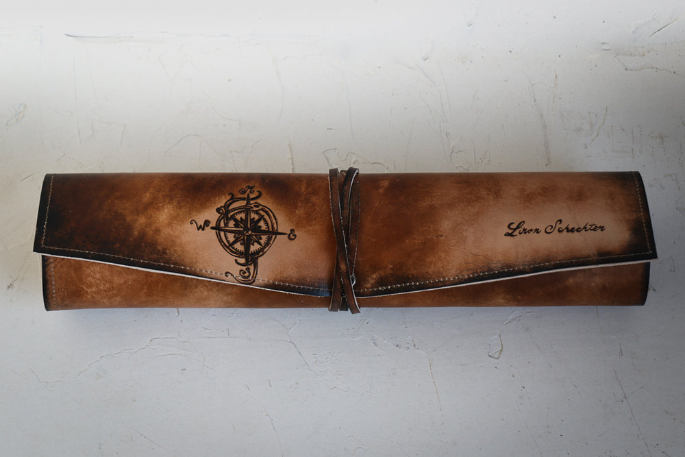 compass custom knife wrap by Linny Kenney
