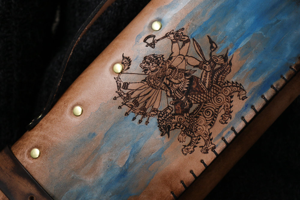 Thai Magic Sigil Custom Leather Knife Roll by Linny Kenney