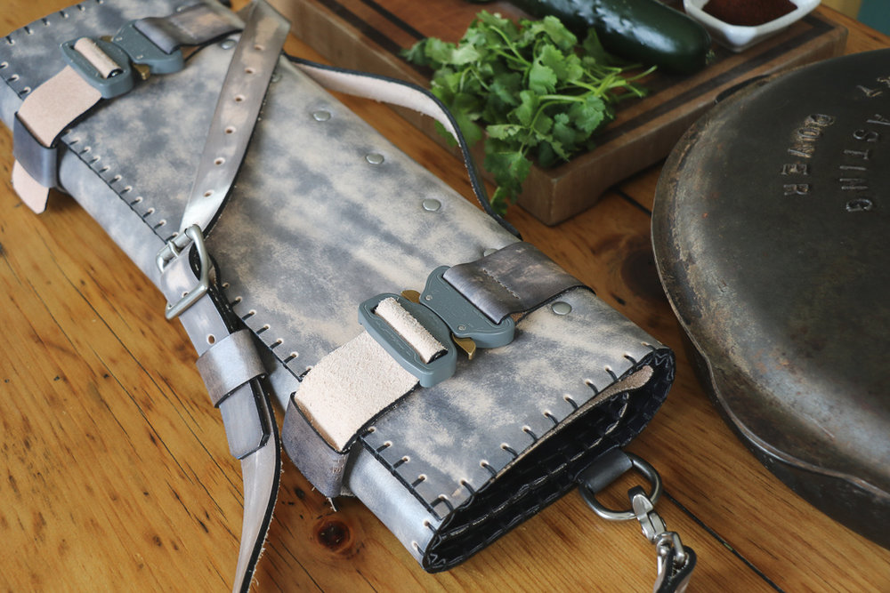 gray leather knife roll by Linny Kenney