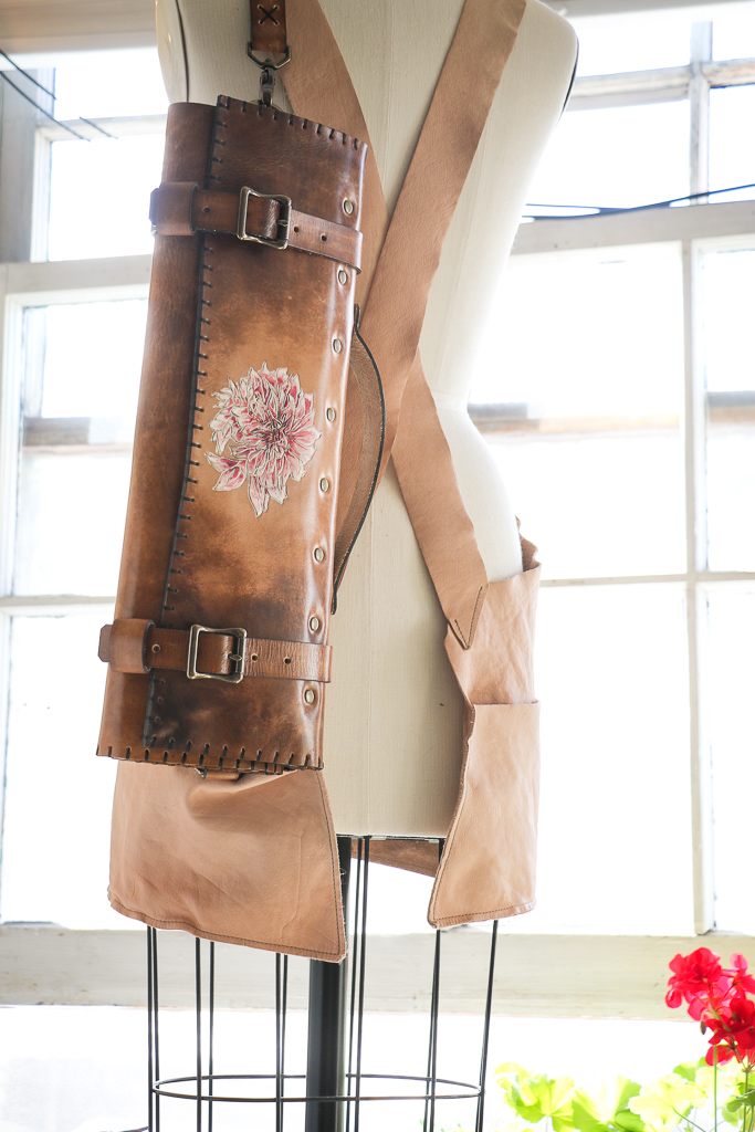 Dahlia natural leather knife roll by Linny Kenney