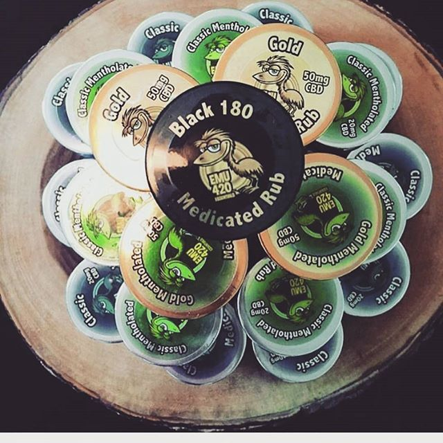 We are now carrying the full line of @emu420essentials rubs!! Check out the newest and strongest addition to the line -the amazing 180mg black label!! 🏴🏴🏴🏴🏴#emu #blacklabel #topical #venice #connisseur #salve #rubitout #gold