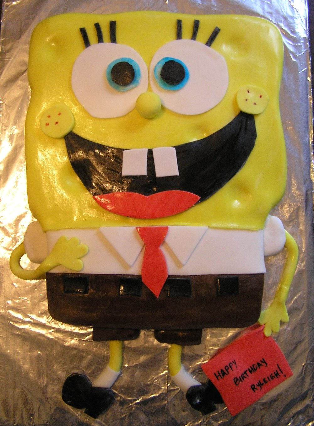 3) Spongebob Squarepants:  I was super proud of this one.  I sort of stepped back and decided that I was getting decent at this cake thing.