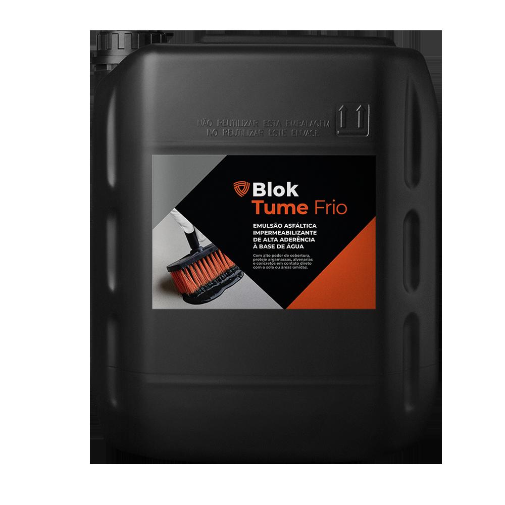 BLOKTUME  - Tinta asfáltica impermeabilizante base água.   Embalagem:  18 e 200 Litros   Ideal para:  Baldrames.   Rendimento:  800 mL por m² em concretos e argamassas.