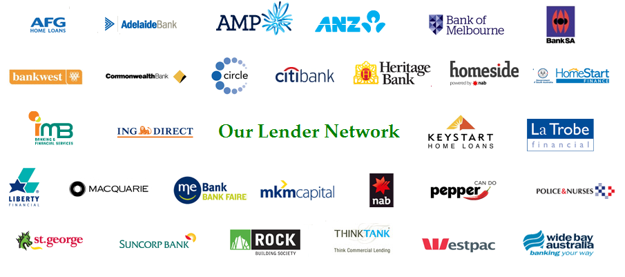 Lending Group - AFG, Adelaide, AMP, ANZ, Bank of Melbourne, Bank of SA, Bankwest, Commonwealth Bank, Circle, Citibank, Heritage, Homeside, Homestart, IMB, ING, Keystart, La Trobe, Liberty, Macquarie, ME, MKM, NAB, Pepper, St George, Suncorp, Rock, Think Tank, Westpac, Wide Bay
