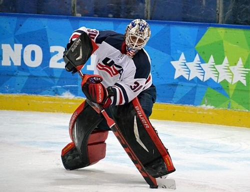Wyatt Waselenchuk playing for team U.S.A. at the 2013 Winter World   University Games, in Trentino, Italy
