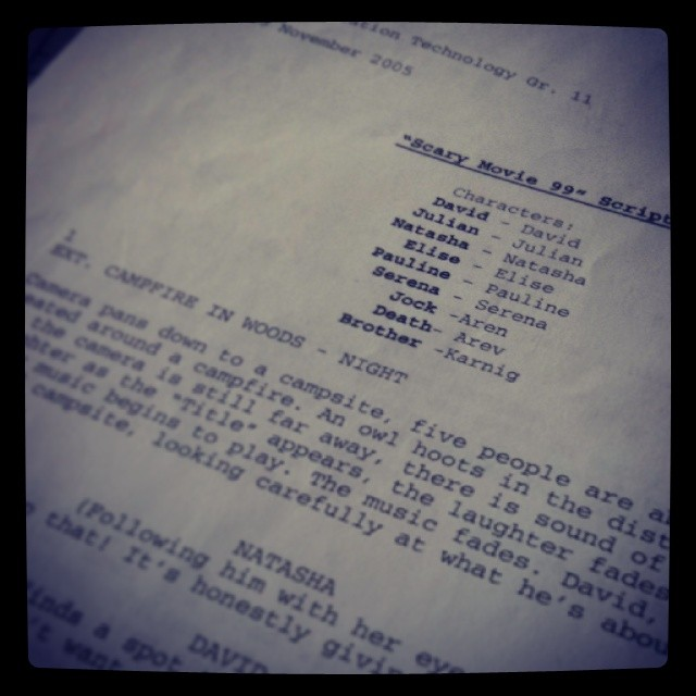 Cleaning the room, found one of the first scripts I wrote. #throwback #memories #filmmaker #script #highschool #spoof