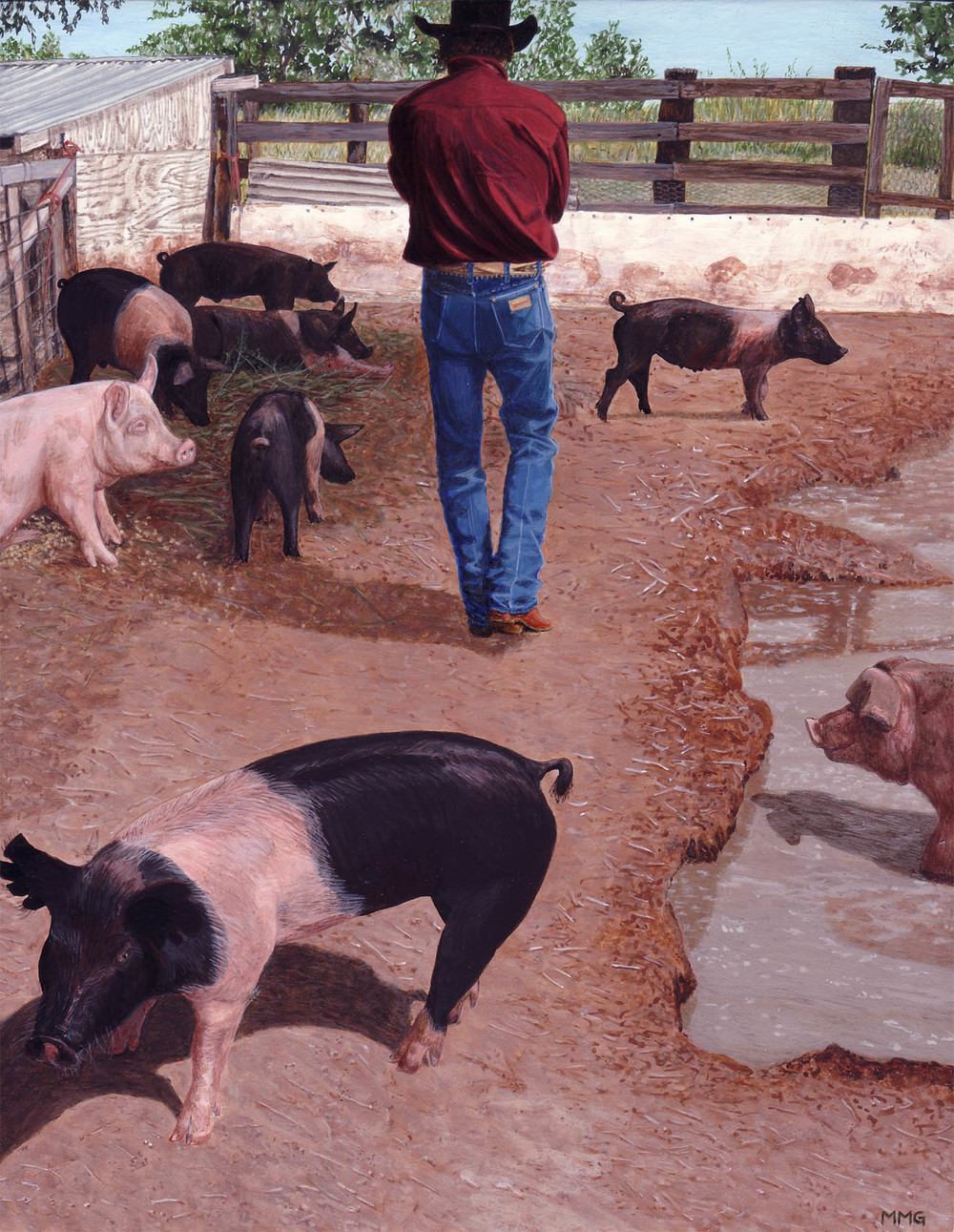 "Jim and his pigs - 8"" x 10"""
