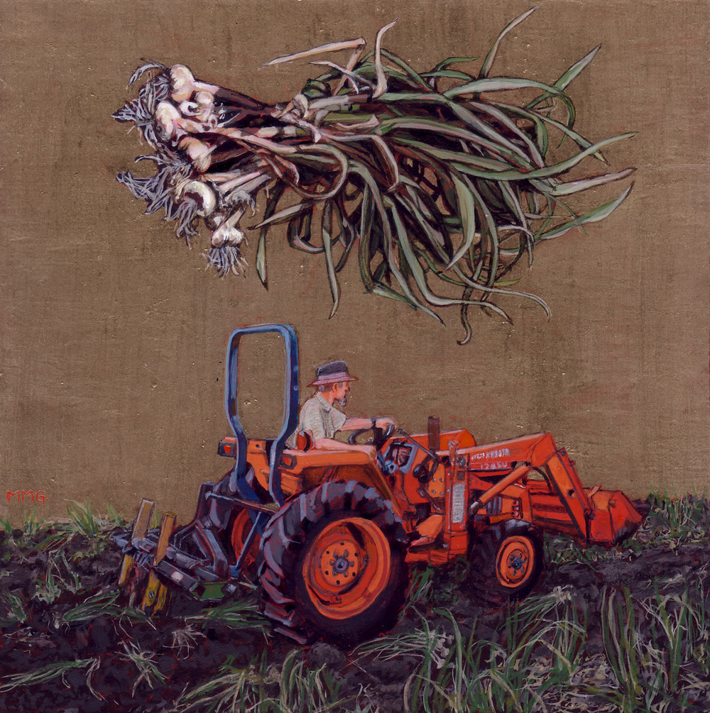 "Tractor - thoughts of garlic - 6"" x 6"""