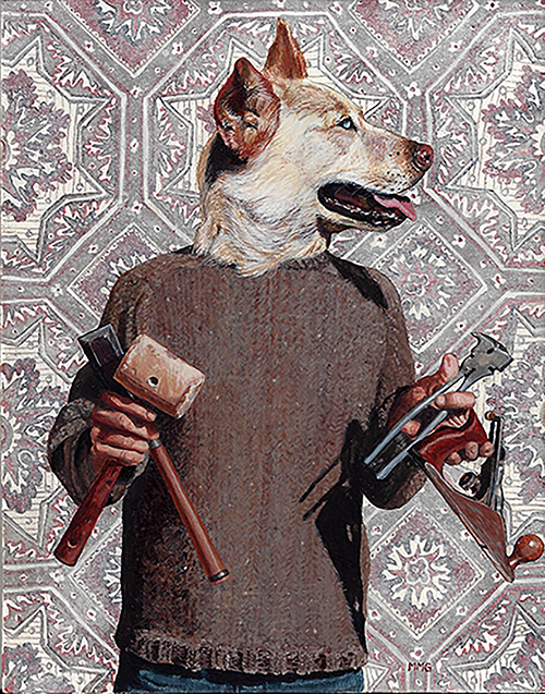 "Dogman with Tools - 5.5"" x 7"""