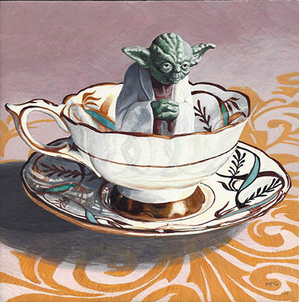 "Yoda in a gold trimmed cup 6"" x 6"""