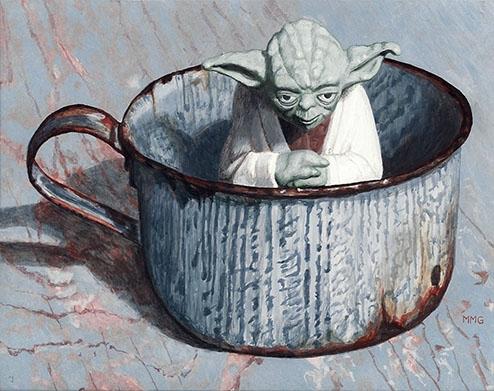 """Yoda in a tin cup 5.5 """" x 7 """""""