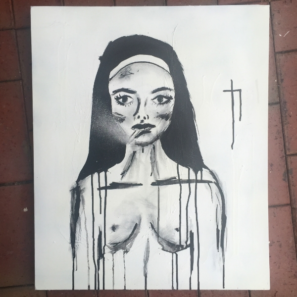 NUN FOR YOU   charcoal, ink + aerosol on canvas.