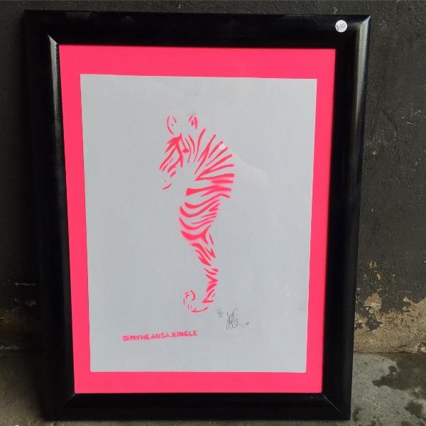 NEON PINK ZEAHORSE   aerosol + stencil on paper.