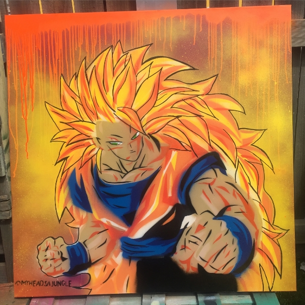 GOKU (DRAGON BALL Z)  aerosol + stencil on canvas.