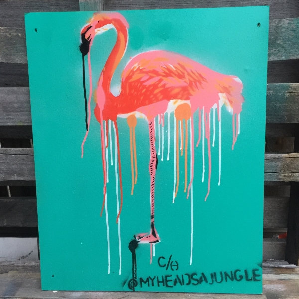 FLAMINGO TENDENCIES   Aerosol + stencil on upcycled wooden board.