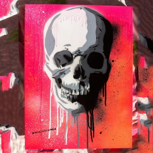 NEON SUNSET SKULL   aerosol + stencil on canvas.