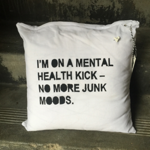 HEALTH KICK CUSHION COVER screen printed on poly/cotton blend, 40cm x 40cm. $25