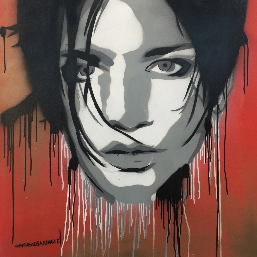 MOLKO aerosol + stencil on canvas