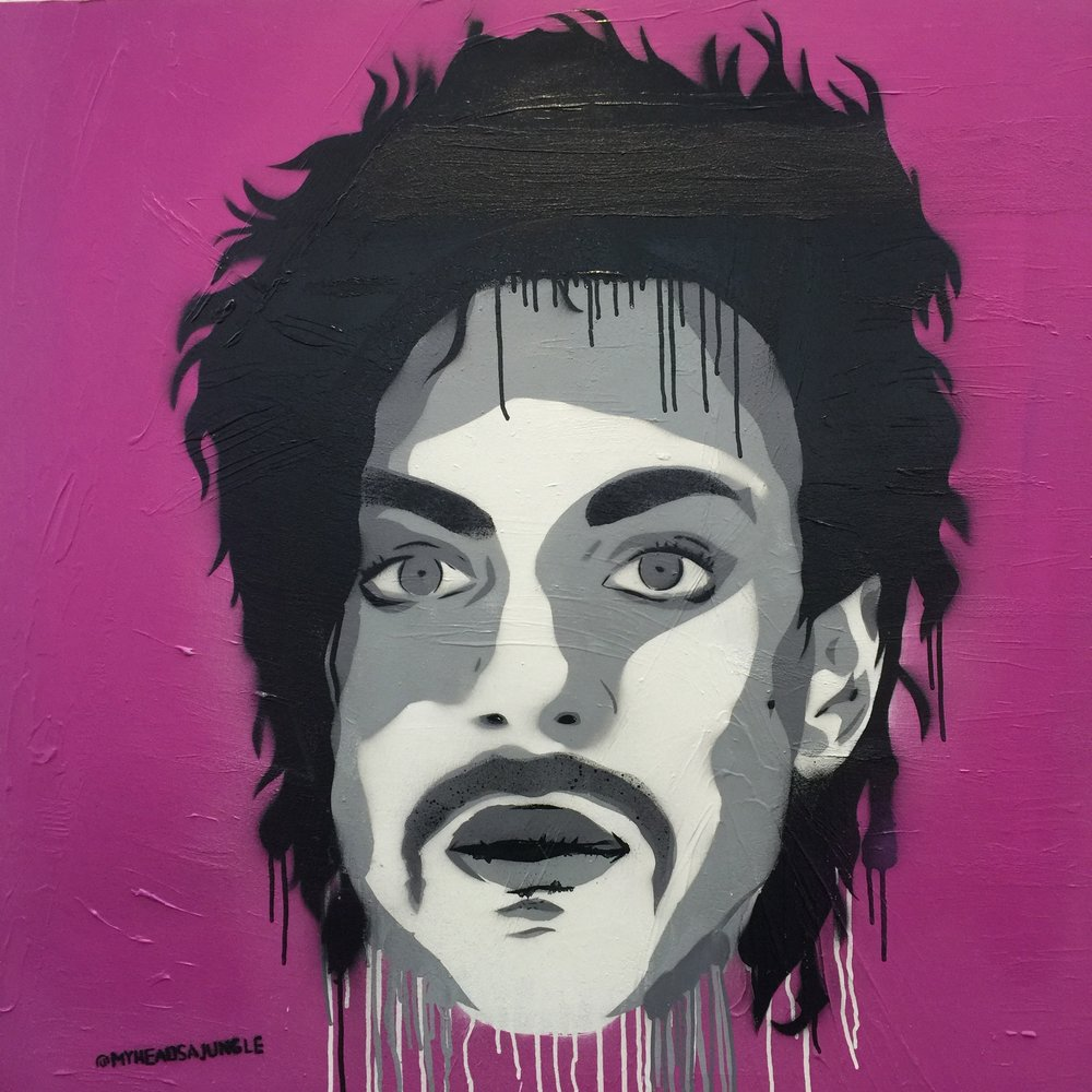 THE PURPLE ONE aerosol + stencil on canvas