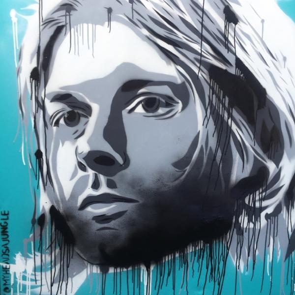 KURT FOREVER aerosol + stencil on canvas, 1.2m x 1.2m $1,100