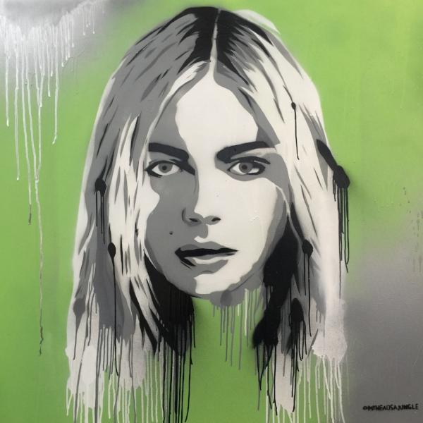 KEY LIME ANDREJA aerosol + stencil on canvas, 1.2m x 1.2m $950