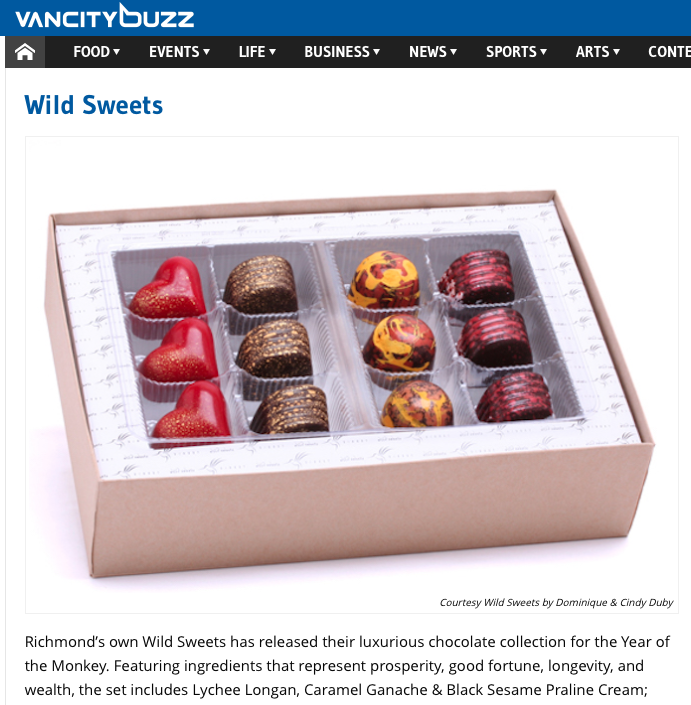 Wild Sweets featured on VancityBuzz - Feb 2016