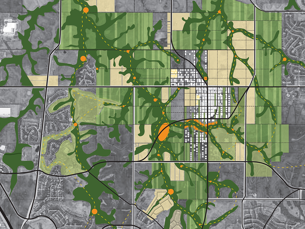 In collaboration with SOM, the Twin Creeks Linear Park Competition reconsiders the pattern of development for 15,000 acres of open fields on the periphery of Kansas City. Weaving together the natural forms of the creeks and the existing development framework of the Jeffersonian grid proposes a new pattern of mixed use construction and open space connections linking the area's future 75,000 inhabitants with the natural environment creating a unique creek-centric urbanism that supports human occupation while addressing the need for flood resilient communities.