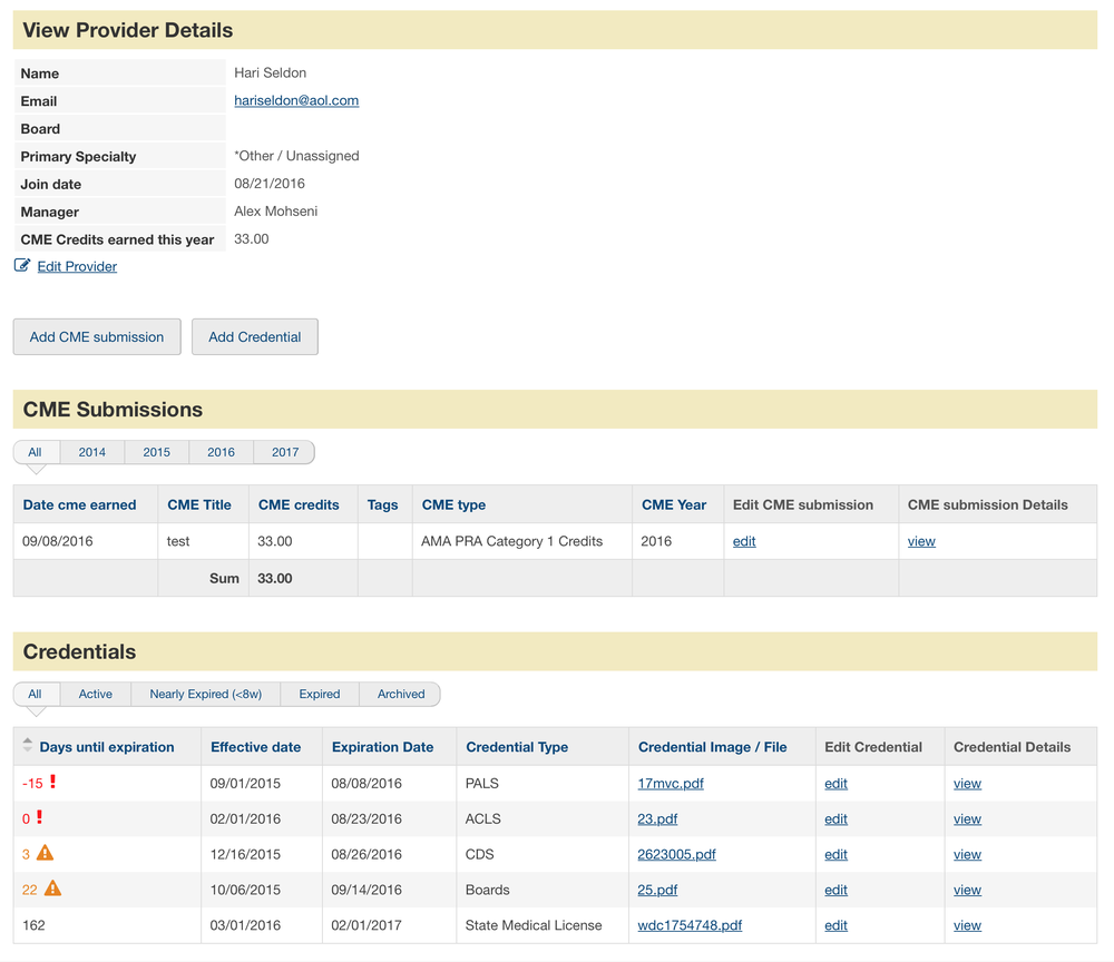 See providers' CME certificates and credentialing documents all on one dashboard
