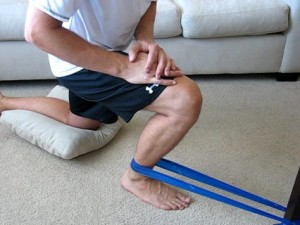 (1) Banded DF with assist. Relax into the band's pull to let your knee travel over your toes.