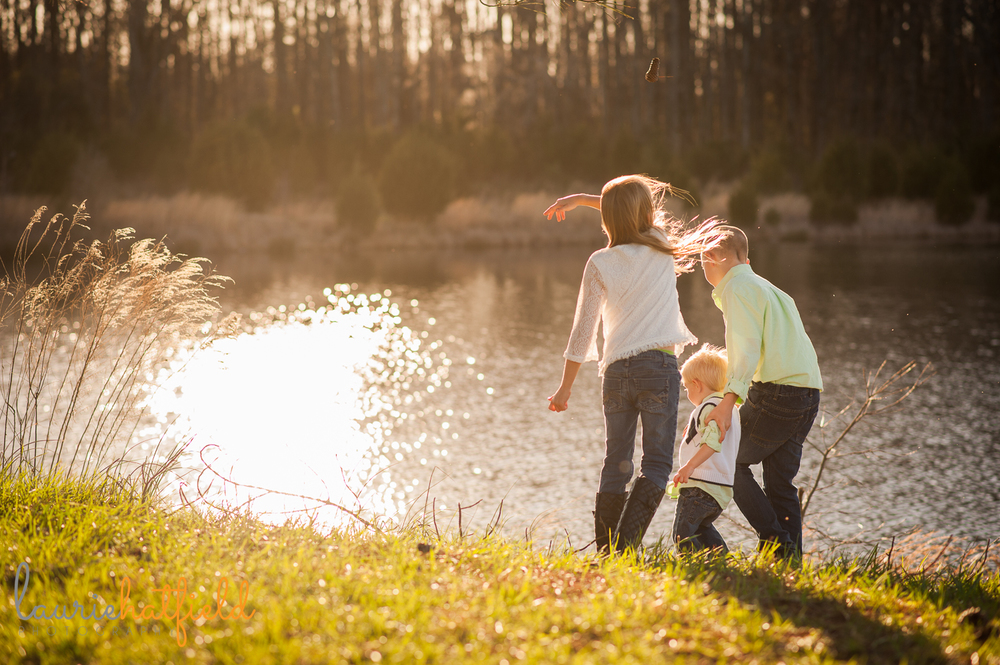 brothers and sister playing near water {huntsville family photographer}