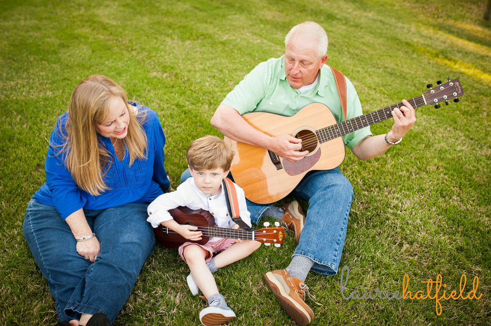 grandparents and grandson playing guitar | Huntsville photographer
