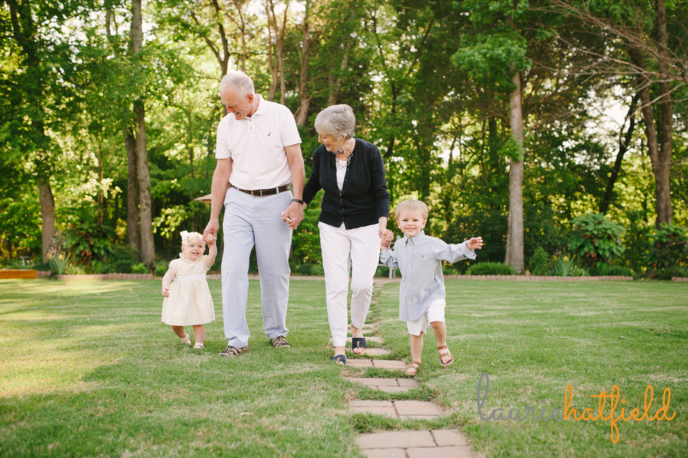grandparents walking with grandchildren | Huntsville child photographer