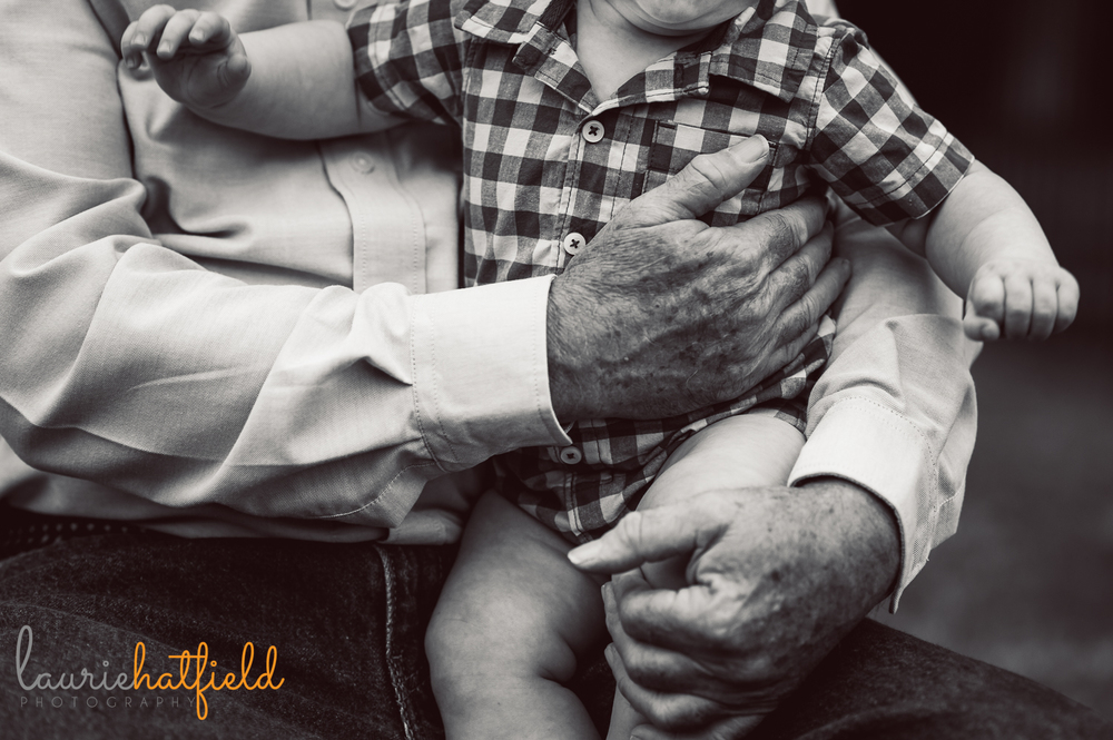 grandfather's hands holding baby grandson | Huntsville family photographer