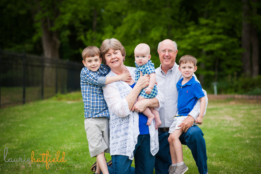 grandparents with three grandchildren | Huntsville photographer