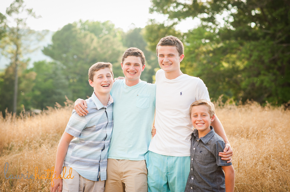 4 brothers in a field | Huntsville family photographer