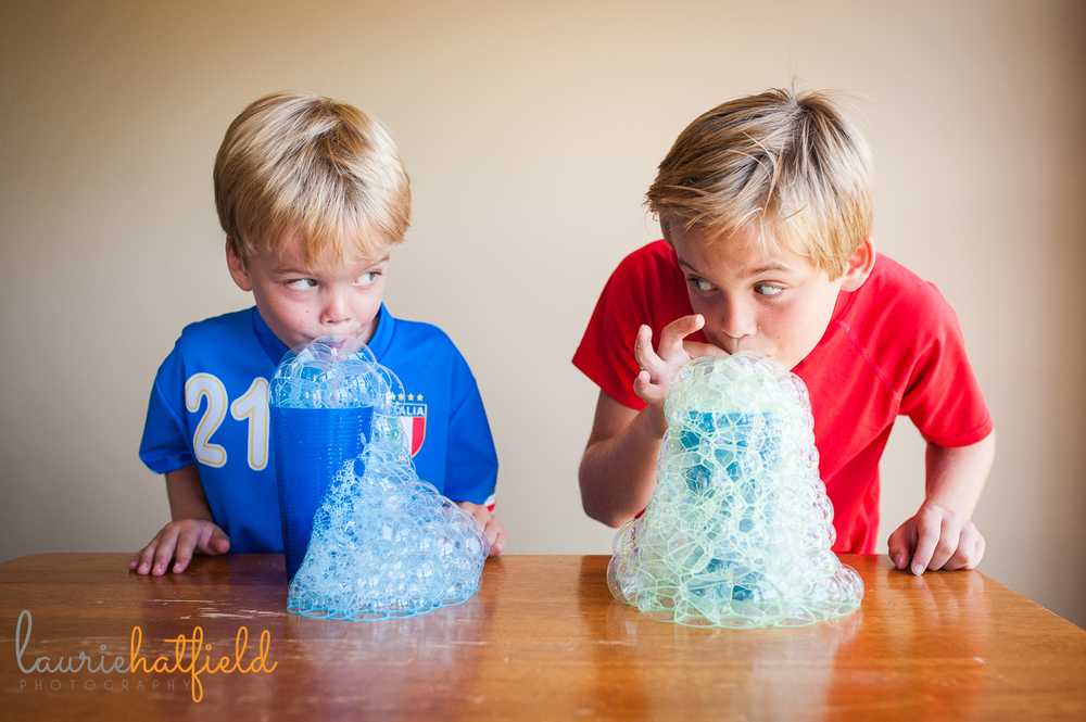 brothers blowing milk bubbles | Huntsville photographer