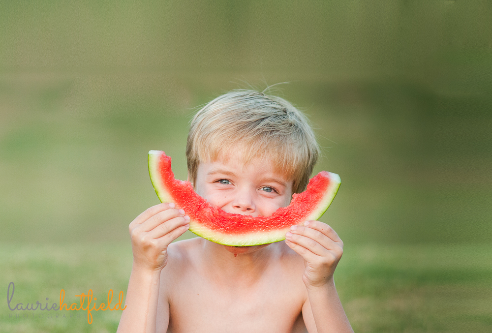 little boy and watermelon rind | Huntsville family photographer