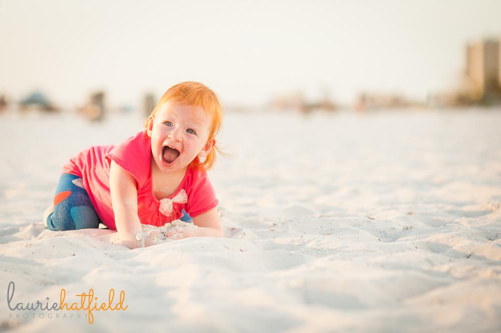 2-year-old redheaded girl on beach | Huntsville AL photographer