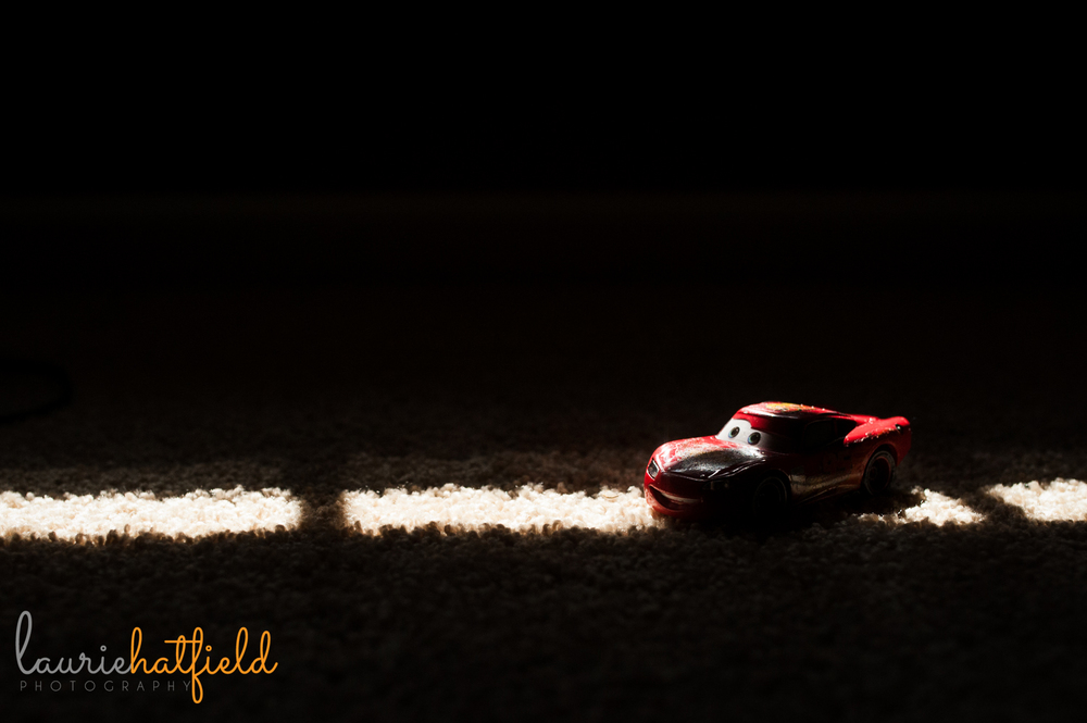 Lightning McQueen car in shadows | Huntsville family photographer