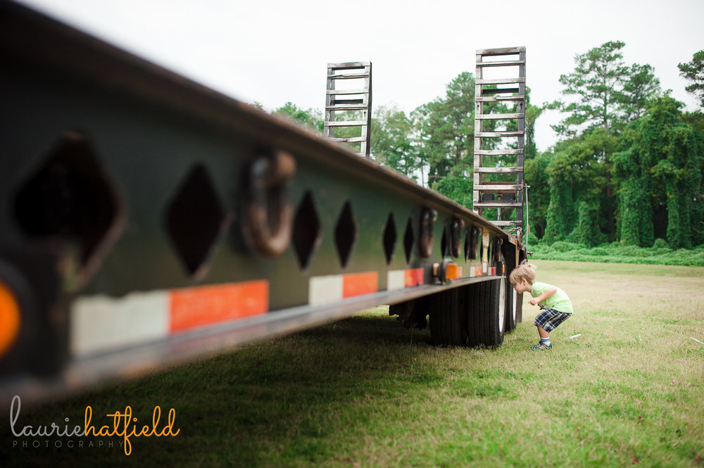 3-year-old boy and tow truck | Huntsville AL children's photographer