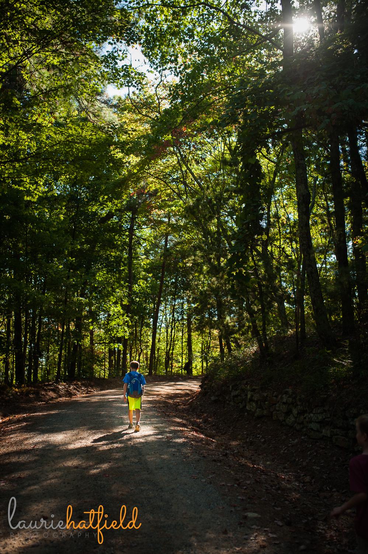 boy hiking in woods | Huntsville AL children's photographer